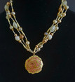 """#BN5 A Fabulous color combination of Yellow and a Blush of coral.  This Beautiful Cloisonne Pendant suspended from Multi-Strands of lovely Complimentary Pearls and Beads , hand crafted by jewelry artist Lois Becker.  Price 18"""" @ $158.  OR  20"""" @ 165."""