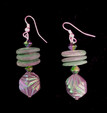 #A04   Iridescent green and wood earrings $25. Available in wire, post or clip on