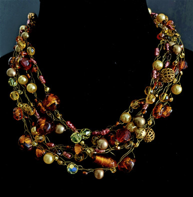 """#BN69  Multiple Hand Crochet strands of  Stunning Vintage  Hand Blown Austrian  Crystal and Pearls . Elegant and Light Weight  18"""" @  $185.  / 20"""" @ $195.  / 25"""" $225."""