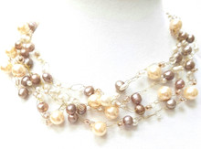"#BN70 Neutral and  Delicate Taupe and Cream Colored Pearls Hand Crocheted onto Multiple Strands make this necklace light and airy. Price 18"" @ $155.  ---  20""  @  $160. ---  25"" @ $165."
