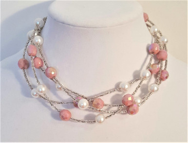 "#BN71 Multi Strands of Pink Faceted Austrian Crystal and White Pearls 18"" @ $145. ,  20"" @ $ 155.,   25"" @ $165.,  30"" @ $175."