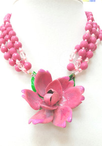 "#BN72 Dramatic and Fabulous Vivid Pink Hand Painted (on lightweight metal )Rose hanging on Multi Strands of Faceted matching Pink and Crystal .  One-of-a-kind indeed  Price $155 length 18"" Available in custom size to fit your needs for an extra charge"
