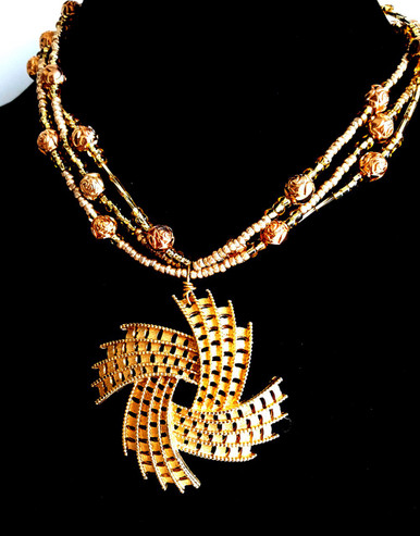 "#BN74 One of a Kind Hand crafted Vintage Gold Pendant on Multi Strands of Gold beads. Hand Made by Jewelry artist Lois Becker you won't see this anywhere else. Price 18"" @ $175. 20"" @ $180. 25"" $190. 30"" $198."