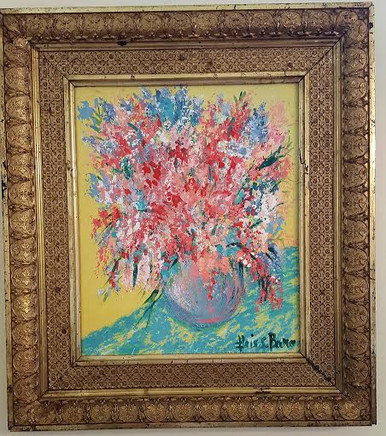 "Painting ""Vase of Flowers on Printed Cloth""  Acrylic paint size 15 1/2 x 17 1/2 (PA1)"