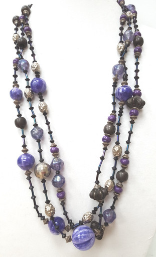 "#AN77    LONG HANDMADE MULTI STRANDS OF VIBRANT PURPLE, BLACK, SILVER, AND PEWTER . AVAILABLE IN 4 SIZES:  30"" @ $95. , 25"" @ $85. , 20"" @ 75., 18"" $ 65."