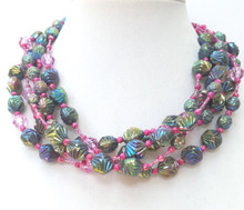 "#AN24  Lightweight Iridescent textured Green and Violet multi strands 18"" @ $155. ---20"" @  $158. ---25"" @ $160. --- 30"" @ $165. Earrings made to match $25. special request wire, post or clip"