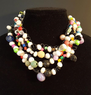"""#AN26 Great Whimsical Necklace Hand Crocheted Funky and Fun with Multiple colors to make a Bold Statement Price 18"""" @ $150. --  20"""" @ %155. --  25"""" @ $160.  30"""" @ $170."""