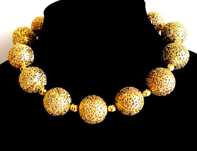 """#AN64  Bold and Dramatic and yet lightweight,  this Large Gold Filigree Choker Makes a Real Fashion Statement ! 18"""" @ $175. 22"""" @ $185.    25"""" $225."""