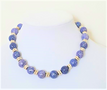 "#AN28 Classic necklace handmade by designer Lois Becker offered in unusual semi -precious Denim Blue Fossil Stone with Silver accents  price:  18"" @ $ 65.  -- 20"" @ $68. -- 25"" @ $ 75."