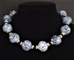 "#AN55 Great with Jeans or Out on the town.  Large Speckled Blue Choker with Navy and Silver Accents , (available in several sizes)   18"" @ $58. -- 20"" @ $60. -- 25"" @ $$65."