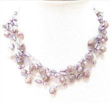 "#AN43   Delicate  Multiple strands of  Frosted Mauve  Beads with Lavender  Pearls hand crocheted  by jewelry artist Lois Becker .  sizes 18"" @  $158. 20"" @ $160."