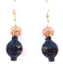 #A50 Unusual Detailed Black Drop Earring with Etched Rosebud Gold Accent.  $25. Available in Clip on, pierced or wire Price