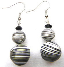 B8 Unusual and Unique Artist Lois Becker used these Swirling Patterned Black and White Beads to make these special  Price $25.  You can custom order these for $25. price with one or two Beads if you prefer a shorter earring.  May be ordered in Clip on, Post or Wire
