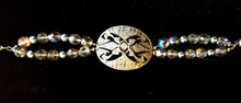 #BR5  One-Of-A-Kind Handmade Bracelet Featuring a Vintage Marcasite  and Silver Shoe Buckle  Jewelry artist Lois Becker used as a focal point with double strands of Faceted Austrian Crystal and Gray Pearls, Magnet Clasp .. Price $155. at 7 inches  Or call me at 216 870 3490 for custom fit.