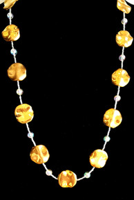 "#AN89 Long and Light weight  Necklace with Bright Wavy Gold Disc Shaped Beads separated by tiny crystals and round clear beads. A Go With Everything Accessory Price:  18"" @ $55., 20"" @  $60.,  25"" @ $70., 30"" $75."