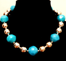 "#BN91 Big and fun but Light weight and Dramatic Large Acrylic Turquoise Colored Beads with Round Shinny Silver Accents Price 18""@ $55. 20"" @ $60. 25"" @65."