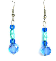 #A56 earrings, delicate Faceted Blue Czech Crystal drop earring with turquoise colored pearl and blue glass beads $25. Available in clip on, wire or post