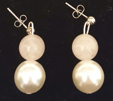 #B33  Large High Luster White Pearl with Delicate Pink Semi Precious Rose Quartz Wonderful for Bridal Party, Prom, or  to enhance any outfit  $25.  Available in post, wire, or clip on