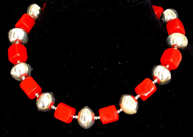 "#CN19  Fun, Fun, Fun Bright Large Silver Beads with Vivid Red Plastic Beads make a Wonderful Statement against any color in your wardrobe..18 ""  @ $55.  , 20"" @ $58. , 25"" @ 68."