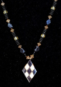 "#CN20 Unusual Pendant with Geometric Design of Inlaid Abalone and Black Shell  18"" @ $65.  --20"" @$68. --25"" @ $ 75."
