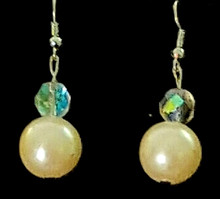 #B40  Large High Luster Cream Colored Pearl with Faceted Crystal accent $35. Available in post, wire or clip o