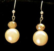 #B42 Earrings Lovely Large Cream Colored Pearls with a Beautiful Faceted Frosted Austrian   Crystal with a hint of Sparkling Tawny  Gold Price $35. Available in wire, post or clip on