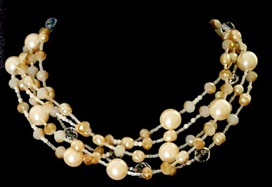 "#AAN1  A Statement Choker Featuring Multiple Strands of Large and Assorted Creamy Pearls with Lovely Austrian Frosted Crystals that hint of a tawny Gold shade. This necklace beautifully Fills in a Neckline. $155.  18"" long but may be custom ordered in preferred size for an extra charge."