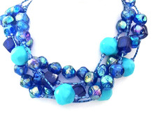 "#BN94  Happy Colors: Vivid Large Turquoise Colored Beads with Bright Royal Blue Make this a real Statement Choker.  Price 18"" @ $145.  --  20"" @ $150 .--  25"" @ $155. --- 30"" @ $160."