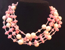 "#BN21 Multiple Strands of  Lightweight Vibrant  Pink Lacquer Beads  and Large creamy Pearls with tiny pale pink crystals. $18"" $135.--- 22"" @ $140.--- 25"" @ $150."
