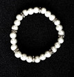 #BR15 Lustrous White Pearl Bracelet with Rhinestone Spacers on Stretch Elastic $25.