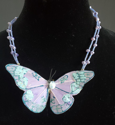 "#AN5 Delicate Silk Butterfly with beautiful coloring and details on a Double Strand of Tiny Lavender Seed Beads and Dyed to Match Uneven Pearls.        18"" @  $75. @ ---20"" @  $80---. 25"" @ $85."