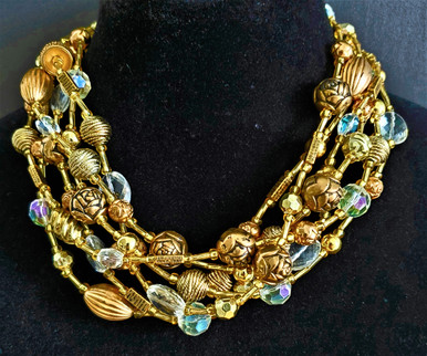 "#BN19   A Wonderful Statement Necklace in Varied Gold and Crystal 18"" @  $165. -- 22"" @ $170.-- 25"" @ $175.  30"" $195."
