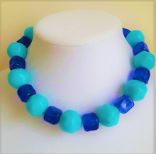 "#BN16 Large Turquoise Colored Fun Necklace with Royal Blue Accents Make a Great Fun Accessory 18"" @ $48. 22"" @ $48. 25"" @ $55."