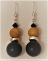 #B50 BLACK, SILVER, WOOD EARRINGS TO MATCH $25. Available in Post, Wire or Clip on