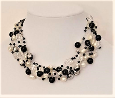 """#CN30 Hand Crocheted Multiple Strands of White Pearls, Black and Crystal  18"""" @  $125.  -- 20""""  @  $165. --25"""" @ $175."""