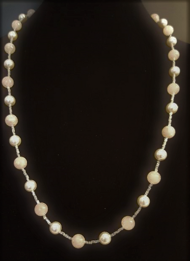 "#AN14 Elegant Classic Single Strand of White Pearls and Semi-Precious Pale Pink Rose Quartz  18"" $85. , 20""  $95.   Length 25"" $125. , 30"" $155."