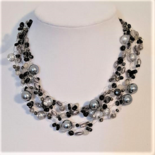 "#AN35 Multiple Strands of Hand-Crocheted Gray Pearls and Onyx Chips Make an Elegant Statement  18"" @  $155. --- 20"" @  $160.  -- 25"" @ $175."