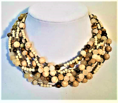 "#AN42 A Great Neutral Accessory for your Wardrobe is this Hand-Made  Necklace with Multiple Strands of Beige Semi-Precious Agates and Fossil Stone $165.  18"" LONG, I can make this a custom length for an additional charge."