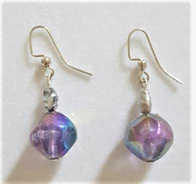 #A4 Translucent Purple Earrings with Mauve Pearl $25. Available in Post, Wire or Clip on