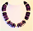 "#AN17 Bold Purple Wood and Bright Silver Necklace Fills in a Bare Neckline Perfectly 18"" $50.  --20"" @  $55.  -- 25"" @ $60."
