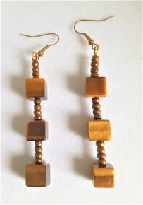 "#A13 ONE OF A KIND  Square Cut Long Semi-Precious  Tiger Eye Earrings. Measure 3"" long. Available in Post, wire, or clip on. $45."