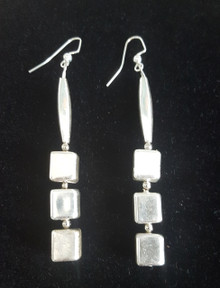 "#A03 Dramatic 3"" Long Silver Earrings $35. Available in wire, post or clip-on"