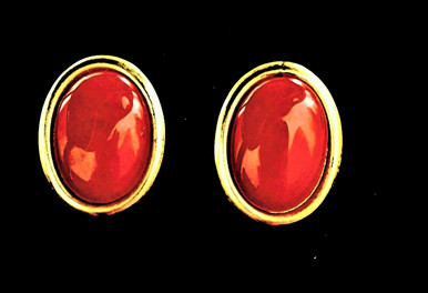 #A93  Dark Red Earring encased in gold , Available in pierced only. $25.