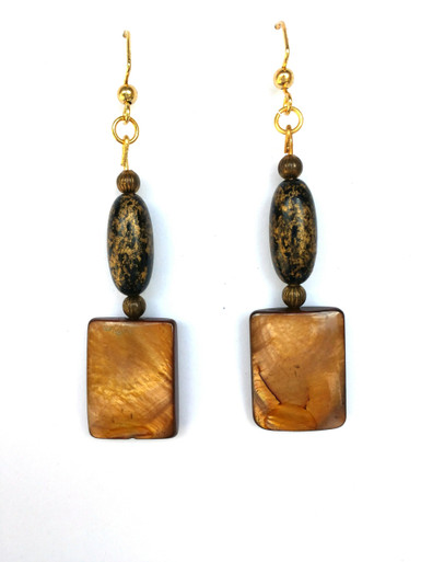 "#A58 Stunning  Earrings made from Polished Abalone hanging from an antiqued complimentary bead. Measures 2"" long, available in Wire, Post or clip on. $38."