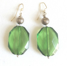 #AA2  Large Fun Faceted Green Acrylic Earring with Silver Accent