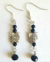 """Etched Silver Earrings with Faceted Black Accents 2"""" Long. Available in wire, post or clip on $45."""