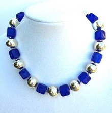 "#AN33 This is a Proven Winner. Silver and Royal Blue makes a great simple statement . Perfect for dress up or with jeans.  Price: 18"" @ $55. -- 20"" @ $ 60. -- 25"" @ $65. -- 30"" @ $78."