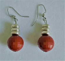 #A32 Faceted Red Round Earrings with Silver Accents. Available in wire, post or clip on $25.
