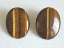Large  Oval Semi-Precious Tiger Eye Earring