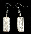 #A49 Interesting Etched Bright Silver Earring $35. Available in wire, post or clip on.